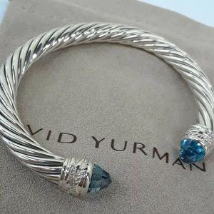 DAVID YURMAN HAMPTON BLUE TOPAZ DIAMOND 7mm CABLE